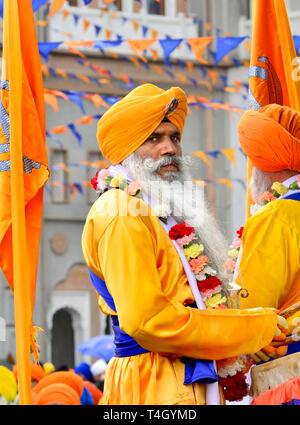 Gravesend, Kent, UK. Vaisakhi (or Baisakhi / Vaishakhi / Vasakhi) annual Sikh festival celebrating the Punjabi New Year. 13th April 2019 - Stock Image