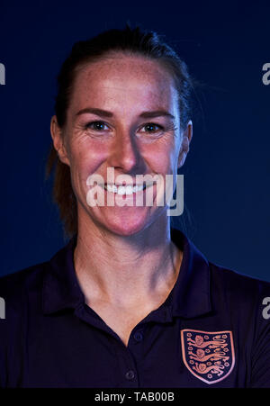 England women's Karen Bardsley poses for a photograph during the media day at St George's Park, Burton. - Stock Image