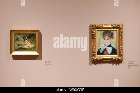 Prague, Czech Republic. 28th June, 2019. The National Gallery Prague (NGP) will open a large exhibition French Impressionism: Masterpieces from the Ordrupgaard Collection with 60 works on June 29, 2019 in the Kinsky Palace, in Prague, Czech Republic. On the photo are seen paintings by Auguste Renoir at the exhibition, on June 28. Credit: Michal Krumphanzl/CTK Photo/Alamy Live News - Stock Image