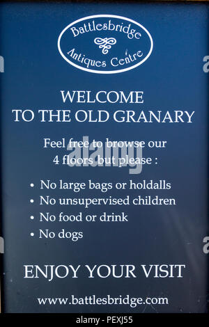Sign for the Old Granary antiques centre in Battlesbridge, village in Essex, UK. - Stock Image