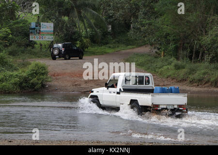 Car crossing river near Drake Bay Costa Rica Osa Peninsula - Stock Image
