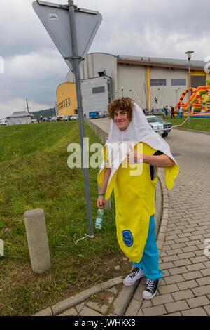 Bielsko-Biala, Poland. 12th Aug, 2017. International automotive trade fairs - MotoShow Bielsko-Biala. Man dressed as a banana. Credit: Lukasz Obermann/Alamy Live News - Stock Image