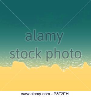 Sandy beach with sea and foamy waves view from above. - Stock Image