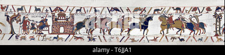 Bayeux Tapestry Scene 12 and 13  - Duke William gives orders to messengers  and Harold is handed over by Guy count of Ponthieu to Duke Williams - Stock Image