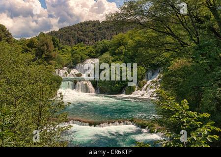Waterfalls at Krka National Park, Croatia - Stock Image