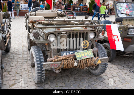 Willys jeep at Rally VI military vehicles from World War II in Kazimierz Dolny, antique army cars event at the Market - Stock Image