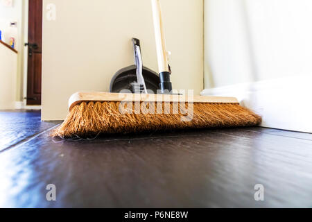 Broom, sweeping brush, brushes, brush, dustpan and brush, dustpan, brooms, floor sweep, broom head, clean, cleaner, floor, cleans, - Stock Image