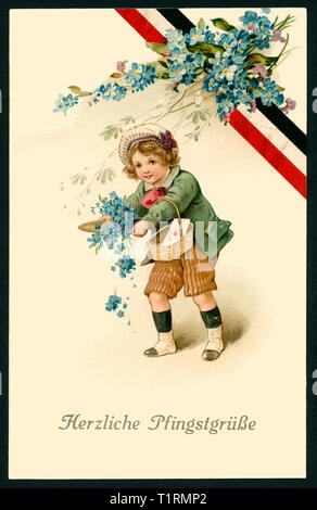 Germany, Saxony, Dresden, WW I, propaganda, patriotic Whitsun postcard with the text ' Warmest Whitsun greetings ', also a little girl with an basket und forget-me-not ad a black-white-ted ribbon, postcard sent 21. 05. 1915. , Additional-Rights-Clearance-Info-Not-Available - Stock Image