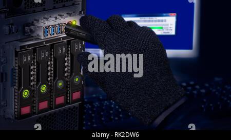 Hand in black glove holding USB flash drive. Computer data theft detail. Spy or saboteur is copying secret information. Server and hot-swap hard disks. - Stock Image