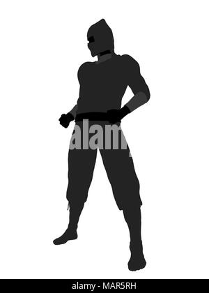 Male ninja silhouette illustration on a white background - Stock Image