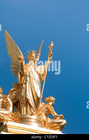 Detail of golden statue at the Opera Garnier, Paris, France - Stock Image
