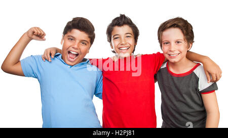 Portrait of a three happy boys isolated on white background, best friends posing in the studio, happy teen lifestyle - Stock Image