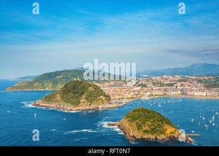 Donostia San Sebastia, panoramic view of city and bay. Euskadi (Basque Country), Northern Spain. - Stock Image