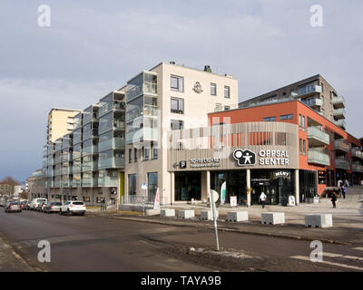 Oppsal senter,a new combined shopping centre and appartment block built by the OBOS building society in a suburb in Oslo Norway - Stock Image
