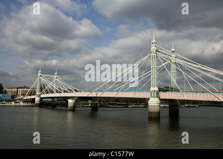 Albert Bridge, River Thames, London, UK.  View from Battersea Embankment. - Stock Image