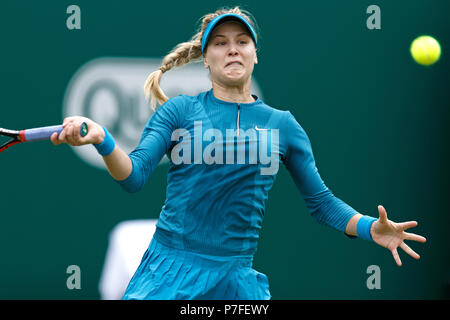 Eugenie Bouchard, Canadian tennis player, playing a shot while in action during the 2018 Nature Valley Classic in Birmingham, UK. - Stock Image