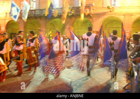Impression of banners and costumes at the annual medieaval pageant in Servigliano Le Marche Italy - Stock Image