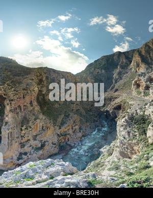 Kourtaliotiki gorge with river running through Crete Greece - Stock Image