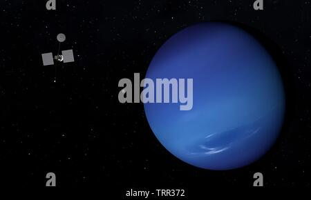 Spaceship and Neptune planet. Space theme. 3D illustration. - Stock Image