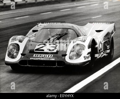 Jun 15, 1970; Le Mans, France; A British driver, DICKIE ATTWOOD, son of a Wolverhampton garage proprietor, helped to give Porsche of Germany their first victory in the long history of the Le Mans 24 hour sports car race in France yesterday. With Hans Herrmann of Germany, he drove 2,863 miles to victory at an average speed of 119.28mph in a 4 1/2 liter 12 cylinder Porsche. The picture shows Dickie Attwood at the wheel of the Porsche during the 24 hr. Le Mans race yesterday. - Stock Image