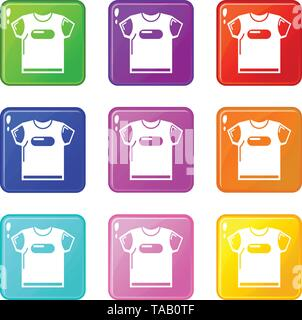 Child t shirt icons set 9 color collection - Stock Image