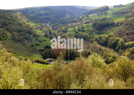 View of Cragg Vale from Hollin Hey Wood, Mytholmroyd, West Yorkshire - Stock Image