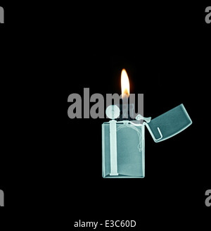 X-ray image of a Zippo lighter - Stock Image