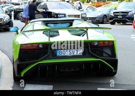 Monte-Carlo, Monaco - June 20, 2019: Green Lamborghini Aventador LP 750-4 SV Coupe (Rear View) Parked In Front Of The Hotel De Paris Monte-Carlo In Mo - Stock Image