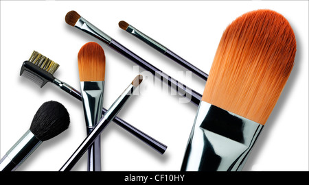 A still life shot of a collection of cosmetic brushes - Stock Image
