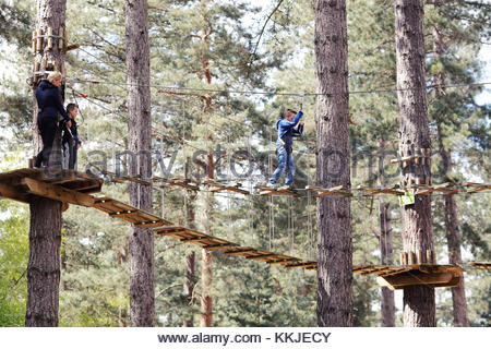 mother and sons on high ropes - Stock Image