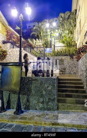 Stairs at the bottom of Las Peñas, Guayaquil Ecuador - Stock Image