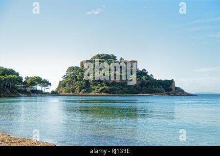 Fort Bregançon, the French president residence in Southern France, is a peninsula in Mediterranean sea, in french riviera - Stock Image