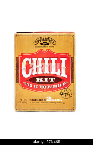 Carroll Shelby's Chili seasoning kit isolated over a white background - Stock Image
