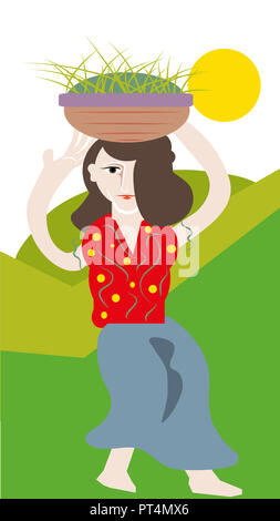 Villager woman.  Villager woman carrying green grass over head. - Stock Image