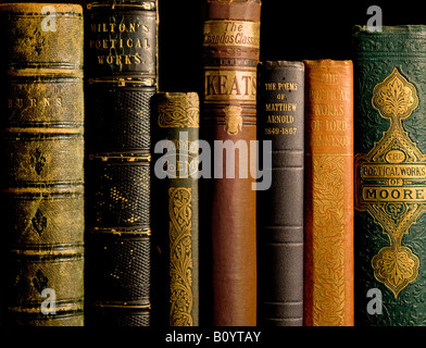 Old Antiquarian Poetry Books - Stock Image