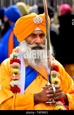 13th Gravesend, Kent, UK. 13th April. Vaisakhi (or Baisakhi / Vaishakhi / Vasakhi) annual Sikh festival celebrating the Punjabi New Year. Gravesend ha - Stock Image