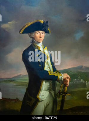 Captain Horatio Nelson, John Francis Rigaud, 1777-1781, aged 21, with Fortress of San Juan, Nicaragua, captured by Nelson in 1780, - Stock Image