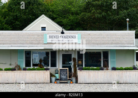 Brewed Awakenings, a coffeehouse in Wells, Maine, using a clever play on words as its business name. - Stock Image