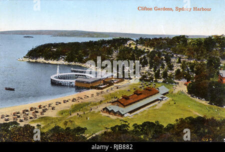 Clifton Gardens, Sydney Harbour, New South Wales, Australia, showing the pavilion, a swimming pool and a diving tower. - Stock Image