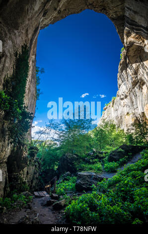 Prohodna cave, Bulgaria. It is nown as God's eyes. Located near Karlukovo village - Stock Image