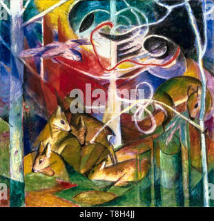 Franz Marc, Deer in the Forest I, painting, 1913 - Stock Image