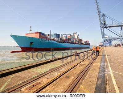 Cargo ship arriving at Port of Felixstowe, England - Stock Image