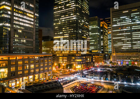 View Of City Lit Up At Night - Stock Image
