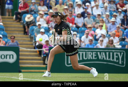Eastbourne, UK. 25 June 2019 Great Britain's Johanna Konta in action against Maria Sakkari of Greece on day four of the Nature Valley International at Devonshire Park. Credit: James Boardman / TPI / Alamy Live News - Stock Image