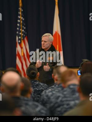 SECNAV speaks to Sailors in Japan. - Stock Image
