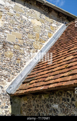 Lead flashing on section of church roof - Stock Image