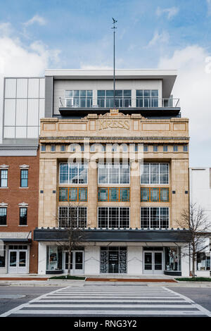 Renovated front exterior of the old Kress building with its Grecian temple facade or front and art deco styling in Montgomery Alabama, USA. - Stock Image