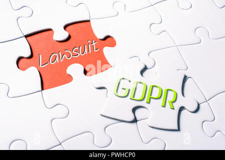 The Words GDPR And Lawsuit In Missing Piece Jigsaw Puzzle - Stock Image