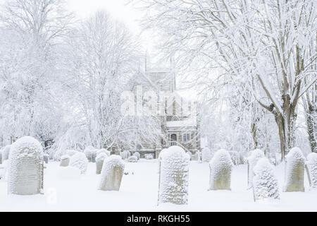Okehampton parish church in winter Devon Uk - Stock Image