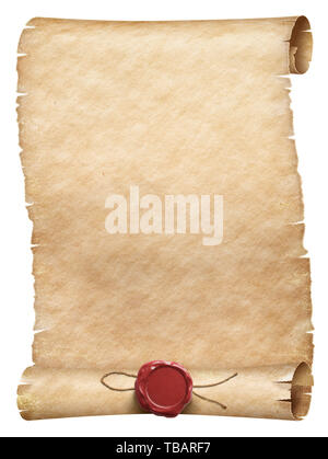 Old parchment scroll with wax seal with thread isolated - Stock Image